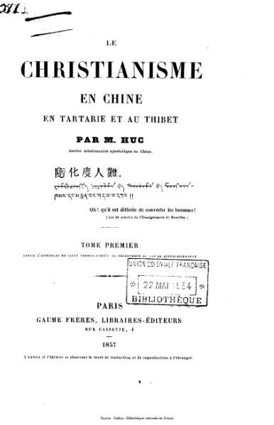 File:Huc - Le christianisme en Chine, en Tartarie et au Thibet, tome 1.djvu