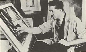 Hugh Ferriss - Hugh Ferriss at work, c. 1925