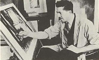 Hugh Ferriss - Hugh Ferriss at work, c. 1925