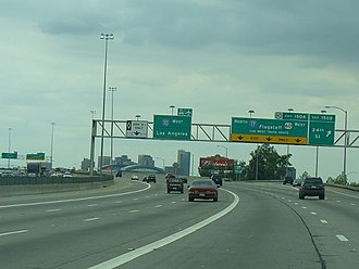 Roads and freeways in metropolitan Phoenix - I-10 west at The Split interchange with I-17 north