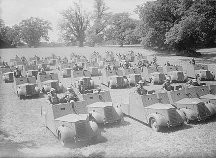 The 4th/7th Royal Dragoon Guards parade with their new Standard Beaverette reconnaissance cars, 25 July 1940 IWM-H-2499-Beaverette-19400725.jpg