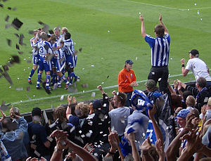 IFK Göteborg - IFK Göteborg and their fans celebrate a goal against Örebro SK in 2004.