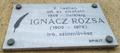 Ignácz Rózsa emléktáblája, Budapest, XI., Irinyi József utca 43..png