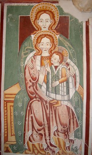 Perichoresis - A trinitarian action of grace is implied in sacred art of the type Anna selbdritt: creator Father, redeemer Son, reflexive procession of the Holy Spirit, with the divine Christ-child pointing back at his human mother and grandmother.