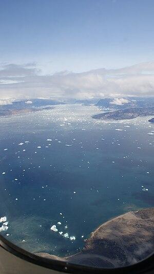 Ikerasak Fjord - Aerial view of Ikerasak Fjord from Air Greenland de Havilland Canada Dash-7 during the Ilulissat−Qaarsut flight