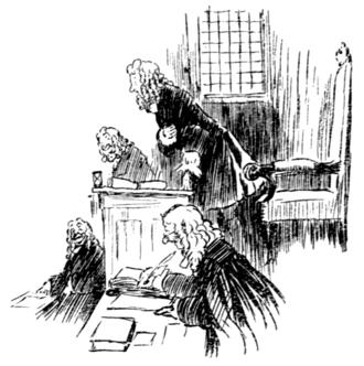 На картинке изображён Юрист в зале суда