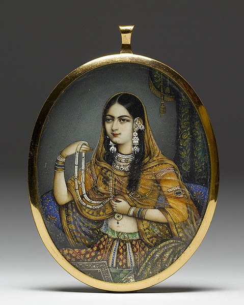File:Indian - Portrait Miniature of an Indian Courtesan - Walters 38518.jpg