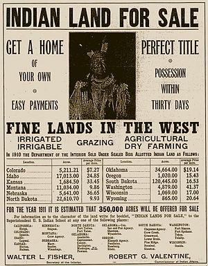 "Pine Ridge Indian Reservation - A 1911 ad offering former reservation land for sale. Most of the ""allotted Indian land"" sold the previous year (1910) was Sioux land."