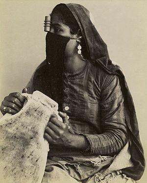 Niqāb in Egypt - An Egyptian woman in 1860