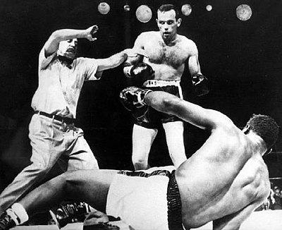Ingemar Johansson knocks Floyd Patterson out, becoming boxing heavyweight champion of the world, on June 26, 1959.