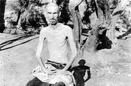 Emaciated male inmate at the Italian Rab concentration camp Inmate at the Rab concentration camp.jpg