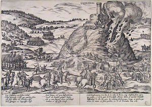 Godesburg - The destruction of the Godesburg in 1583; the attackers used explosives to breach the walls