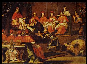 Guy Tachard - Tachard, with Siamese envoys, translating the letter of king Narai to Pope Innocent XI, December 1688