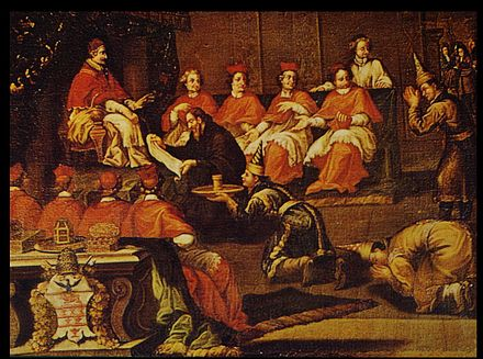 Tachard, with Siamese envoys, translating the letter of King Narai to Pope Innocent XI, December 1688. Innocent XI Dec 1688.jpg
