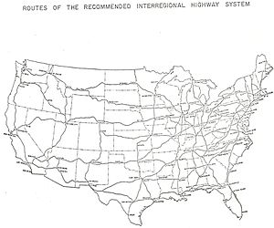 Interstate 64 in Virginia - Image: Interregional Highway plan ca 1943