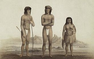 Mohave people - Chiefs Irataba and Cairook, with Mohave woman, by Balduin Möllhausen (1856)
