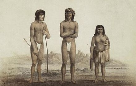Chiefs Irataba and Cairook, with Mohave woman, by Balduin Mollhausen (1856) Irataba and Cairook (cropped).jpg