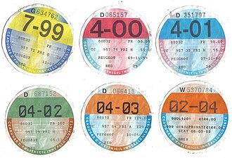 Motor tax in the Republic of Ireland - Motor tax discs, 1999 to 2004