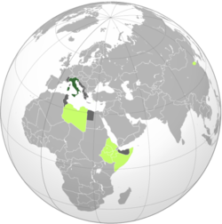 Kingdom of Italy   Colonies of Italy in 1939   Areas occupied during World War II