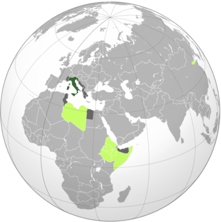Map of the Italian Empire at its maximum extent, with colonies in light green and protectorates or occupied areas during World War II in grey Italy's colonial empire.png