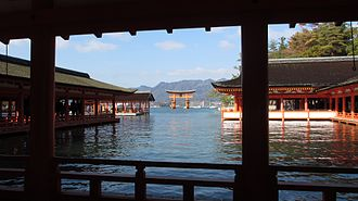 Itsukushima Shrine - The Itsukushima Shrine at high tide, when it appears to float on the water