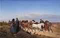 Jørgen V. Sonne - Jyske bønder på vej hjem fra marked med deres heste - KMS868 - Statens Museum for Kunst.jpg