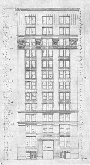 Monadnock Building - 1885 sketch of preliminary design showing a smaller, more ornate building with Egyptian-style detailing