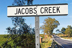 Barossa Valley Way - Famous sign at Jacobs Creek crossing near Rowland Flat on the Barossa Valley Way