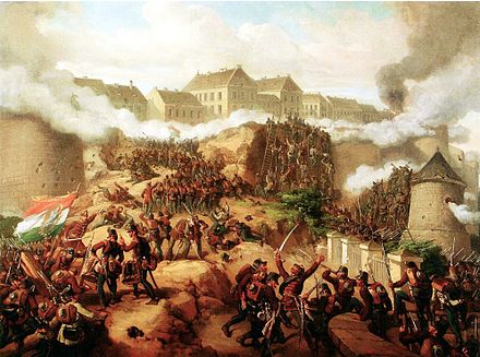 The Battle of Buda in May 1849 by Mór Than Jakobey Buda ostroma 2.jpg