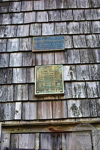 Windmill at Water Mill - JamesCorwithGristMillPlaque 6873