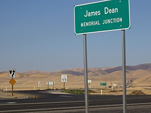 California State Route 46 - The James Dean Memorial Junction, looking northeast, with SR 41 heading away from the camera