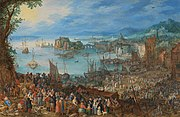 Reproduction of painting The Great Fish Market, painted by Jan Brueghel the Elder