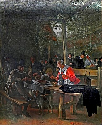 Beer garden - Tavern Garden. Painting by Jan Steen, c. 1660