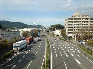 Kiyama, Saga - Japan National Route 3 from footbridge of Kiyama Station