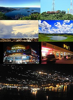 From top, left to right: Jayapura is viewed from the top of the hill, Jayapura City sign, Coral beach, Love Lake (Danau Cinta) is a heart-shaped-lake located in Emfote (near Jayapura), the biggest mall in Jayapura (Mal Jayapura), Papua Trade Center (PTC), and Jayapura at night.