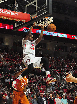 Texas Tech Red Raiders basketball - Texas Tech forward Jaye Crockett slams the ball home during the Red Raiders' win against the University of Texas Longhorns on March 8, 2014.