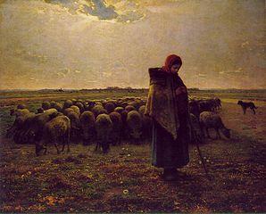 Bergère avec son troupeau