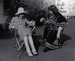 Jean Rhys (left, in hat) with Mollie Stoner, Velthams, 1970s B (cropped).jpg