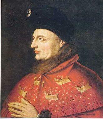 "Armagnac–Burgundian Civil War - John the Fearless - head of the Burgundian party - sporting the ""rabotures"""