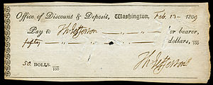 Cheque - A cheque with Thomas Jefferson as payee and payor from 1809