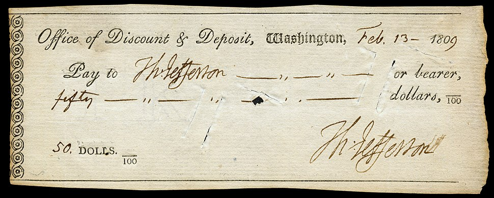 Jefferson, Thomas (signature on check)