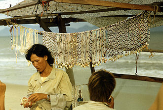 Shell jewelry - Shell jewelry for sale on a beach in Vietnam, 1990