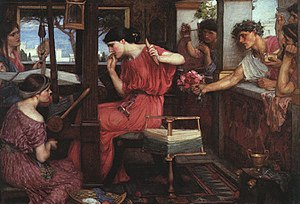 Suitors of Penelope - Penelope and the Suitors by John William Waterhouse (1912).