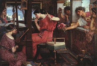 Penelope and the Suitors by John William Waterhouse (1912).