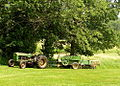 John Deere tractor and square baler, Boxborough, Massachusetts, 2005.jpg