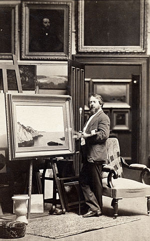 John Frederick Kensett - Kensett painting in his studio, ca. 1866