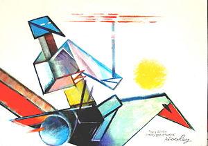 John Howley - Image: John Howley Hey Birdie i really got it started acrylic on hardboard 123x 183cm 1997