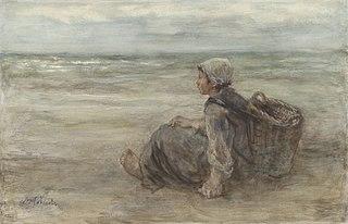 Vissersmeisje op het strand