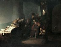 Judas returning the thirty pieces of silver, by Rembrandt.jpg