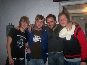 James and Tom Martin - The Station Club line up with Tom Martin (second L) and James Martin (R)
